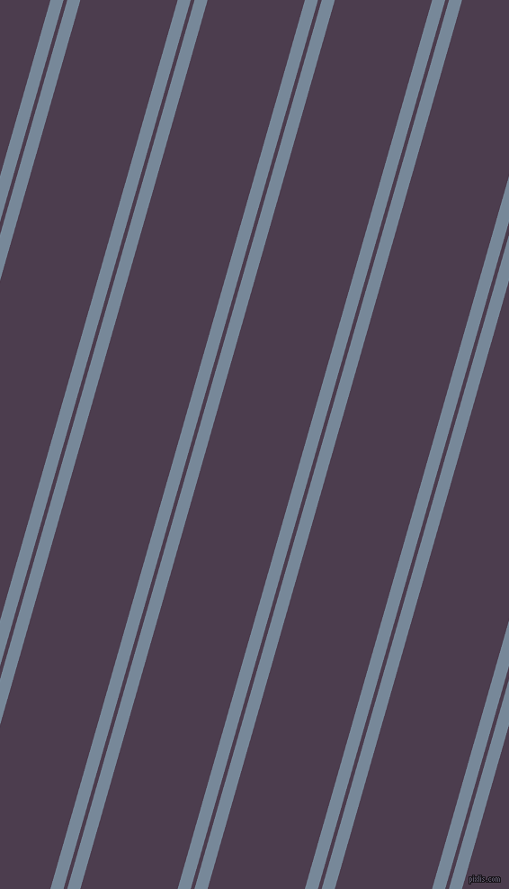 74 degree angles dual stripes line, 14 pixel line width, 4 and 104 pixels line spacing, Light Slate Grey and Bossanova dual two line striped seamless tileable