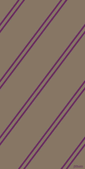 53 degree angle dual stripe lines, 6 pixel lines width, 10 and 109 pixel line spacing, Palatinate Purple and Sand Dune dual two line striped seamless tileable