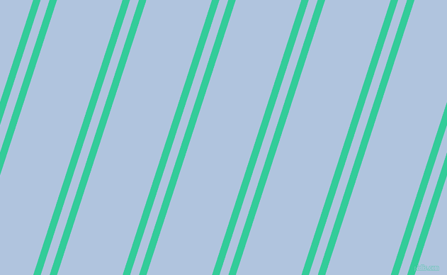72 degree angle dual stripes lines, 10 pixel lines width, 12 and 88 pixel line spacing, Shamrock and Light Steel Blue dual two line striped seamless tileable