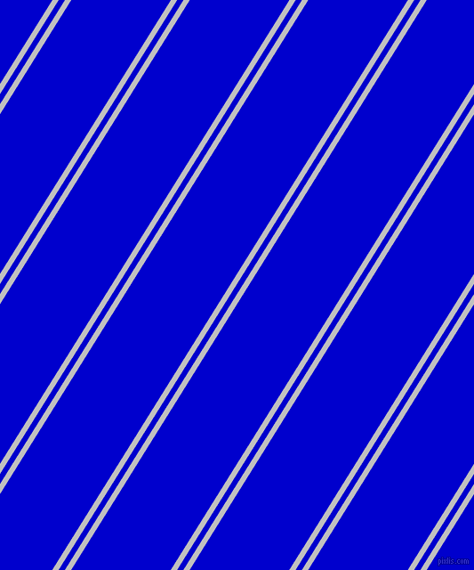 58 degree angle dual stripe line, 6 pixel line width, 6 and 95 pixel line spacing, Silver and Medium Blue dual two line striped seamless tileable