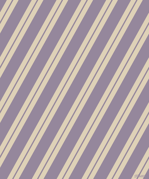 61 degree angle dual striped lines, 15 pixel lines width, 4 and 38 pixel line spacing, Spanish White and Amethyst Smoke dual two line striped seamless tileable