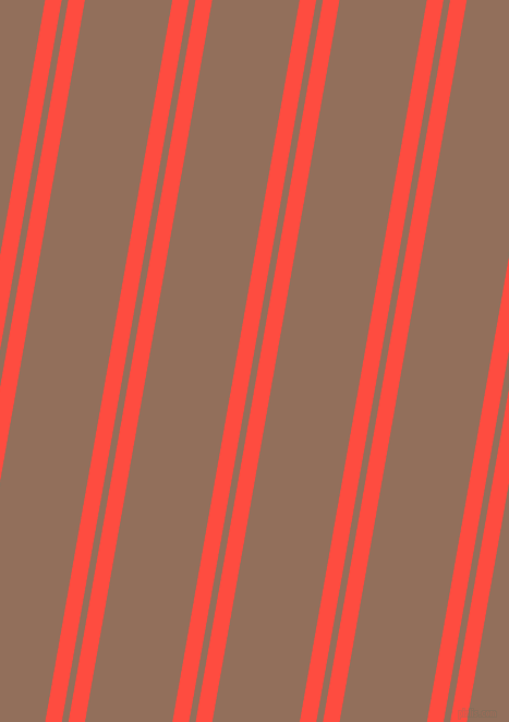 80 degree angles dual stripes line, 15 pixel line width, 6 and 79 pixels line spacing, Sunset Orange and Beaver dual two line striped seamless tileable