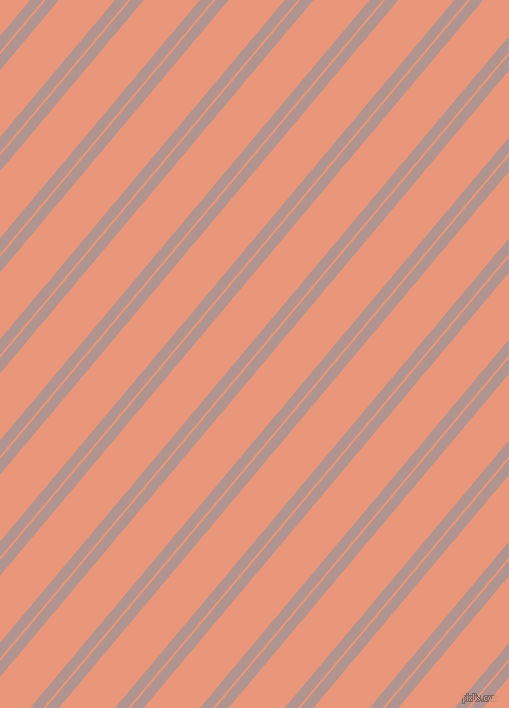 50 degree angles dual stripe lines, 10 pixel lines width, 2 and 43 pixels line spacing, Thatch and Dark Salmon dual two line striped seamless tileable
