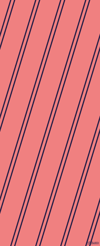 73 degree angle dual striped lines, 4 pixel lines width, 8 and 61 pixel line spacing, Violent Violet and Light Coral dual two line striped seamless tileable