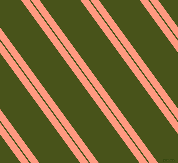 126 degree angle dual striped lines, 22 pixel lines width, 4 and 106 pixel line spacing, Vivid Tangerine and Verdun Green dual two line striped seamless tileable