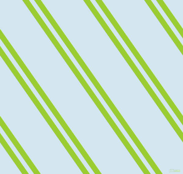 125 degree angles dual stripes line, 18 pixel line width, 14 and 114 pixels line spacing, Yellow Green and Pattens Blue dual two line striped seamless tileable