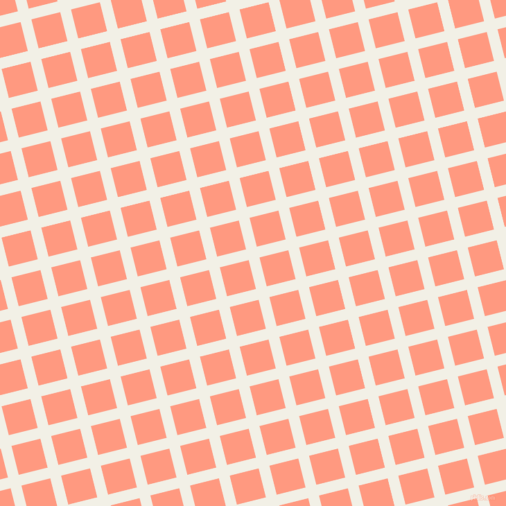 14/104 degree angle diagonal checkered chequered lines, 16 pixel line width, 43 pixel square size, Alabaster and Vivid Tangerine plaid checkered seamless tileable