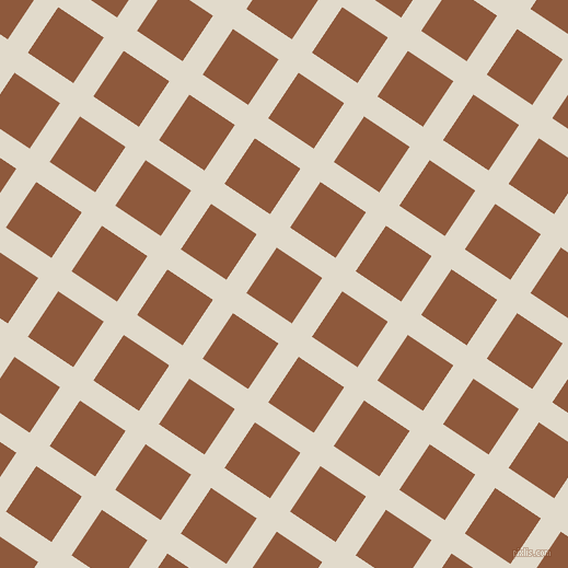 56/146 degree angle diagonal checkered chequered lines, 22 pixel lines width, 50 pixel square size, Albescent White and Rope plaid checkered seamless tileable