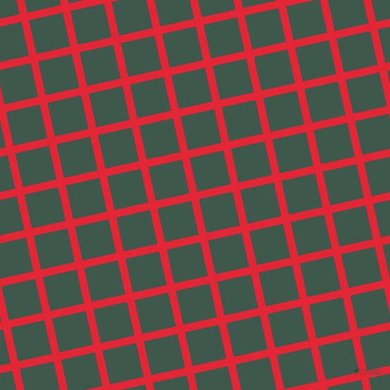 13/103 degree angle diagonal checkered chequered lines, 11 pixel lines width, 49 pixel square size, Alizarin and Plantation plaid checkered seamless tileable