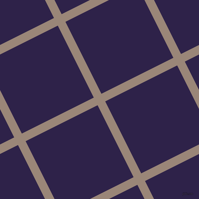 27/117 degree angle diagonal checkered chequered lines, 28 pixel lines width, 264 pixel square size, Almond Frost and Violent Violet plaid checkered seamless tileable