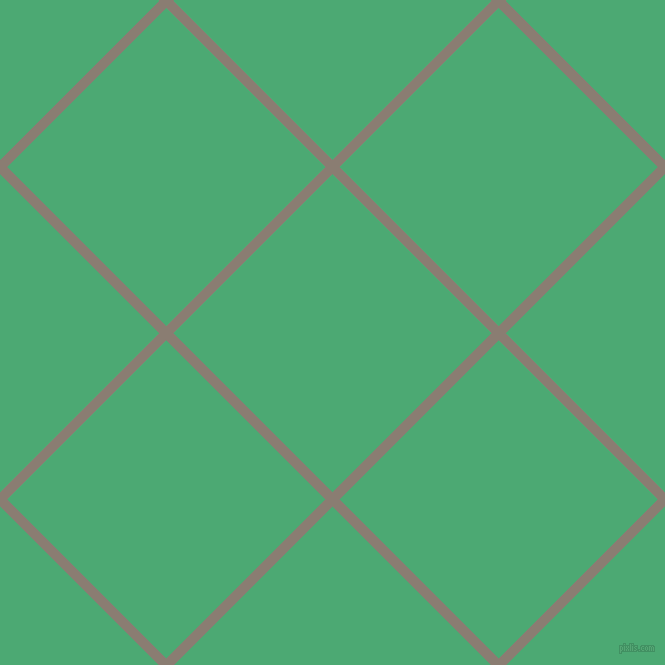 45/135 degree angle diagonal checkered chequered lines, 10 pixel lines width, 225 pixel square size, Americano and Ocean Green plaid checkered seamless tileable