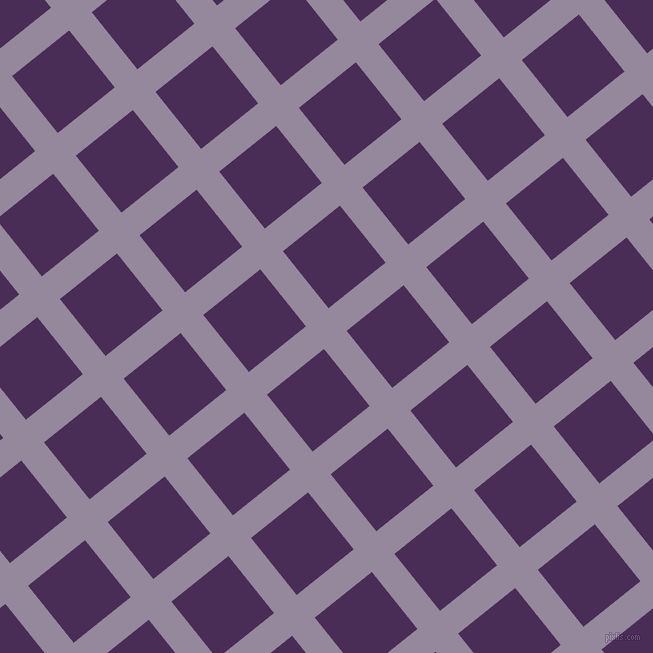 39/129 degree angle diagonal checkered chequered lines, 29 pixel line width, 73 pixel square size, Amethyst Smoke and Scarlet Gum plaid checkered seamless tileable
