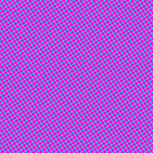 34/124 degree angle diagonal checkered chequered lines, 2 pixel lines width, 10 pixel square size, Aqua and Hot Magenta plaid checkered seamless tileable