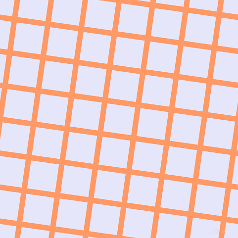 82/172 degree angle diagonal checkered chequered lines, 11 pixel line width, 57 pixel square size, Atomic Tangerine and Lavender plaid checkered seamless tileable