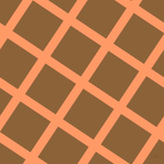 56/146 degree angle diagonal checkered chequered lines, 29 pixel line width, 123 pixel square size, Atomic Tangerine and McKenzie plaid checkered seamless tileable