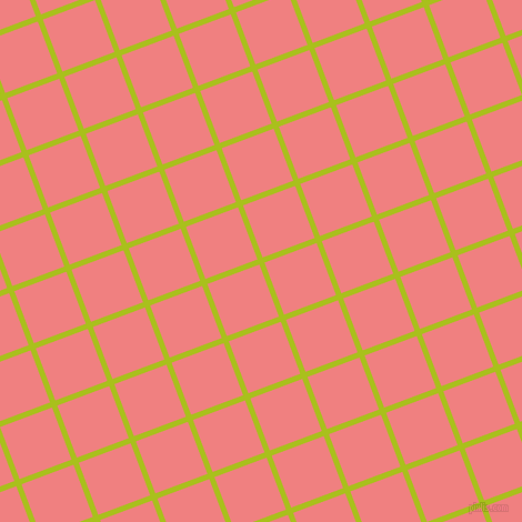 21/111 degree angle diagonal checkered chequered lines, 5 pixel line width, 50 pixel square size, Bahia and Light Coral plaid checkered seamless tileable
