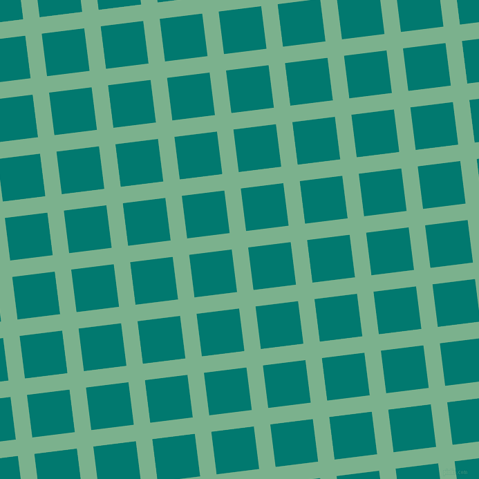 7/97 degree angle diagonal checkered chequered lines, 24 pixel line width, 62 pixel square size, Bay Leaf and Pine Green plaid checkered seamless tileable