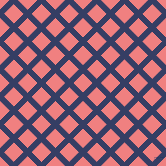 45/135 degree angle diagonal checkered chequered lines, 20 pixel line width, 48 pixel square size, Bay Of Many and Light Coral plaid checkered seamless tileable