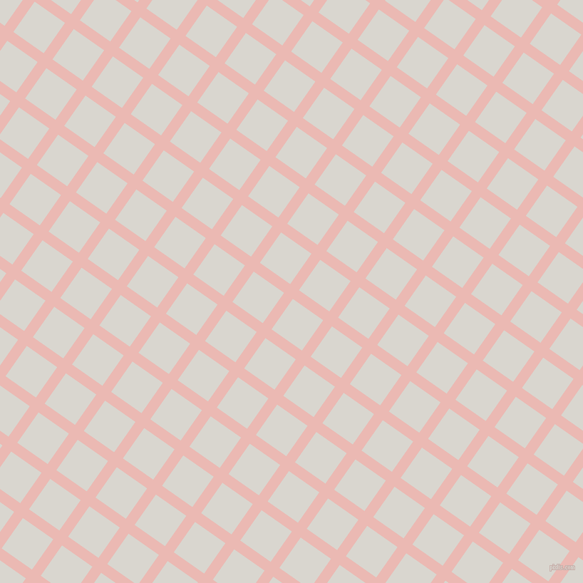 55/145 degree angle diagonal checkered chequered lines, 15 pixel line width, 52 pixel square size, Beauty Bush and Timberwolf plaid checkered seamless tileable