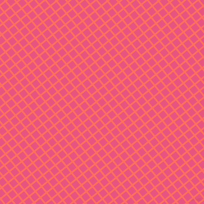 39/129 degree angle diagonal checkered chequered lines, 6 pixel lines width, 22 pixel square size, Bittersweet and Dark Pink plaid checkered seamless tileable