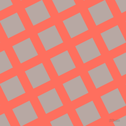 27/117 degree angle diagonal checkered chequered lines, 30 pixel line width, 65 pixel square size, Bittersweet and Martini plaid checkered seamless tileable