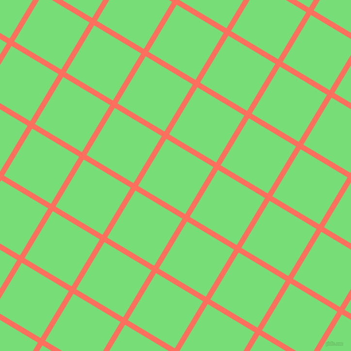 59/149 degree angle diagonal checkered chequered lines, 11 pixel line width, 113 pixel square size, Bittersweet and Pastel Green plaid checkered seamless tileable