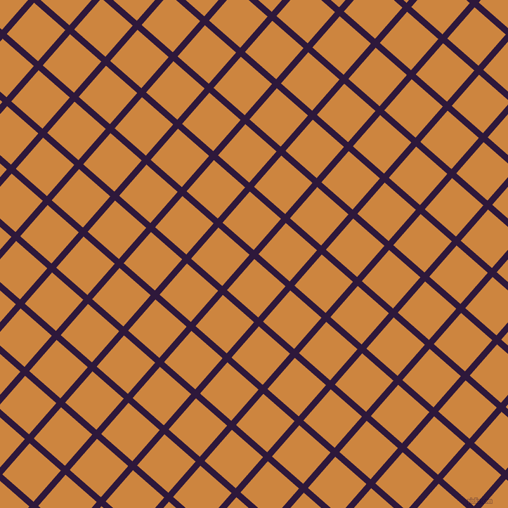 49/139 degree angle diagonal checkered chequered lines, 9 pixel line width, 59 pixel square size, Blackcurrant and Peru plaid checkered seamless tileable