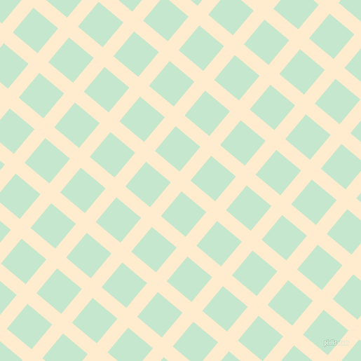 50/140 degree angle diagonal checkered chequered lines, 20 pixel lines width, 46 pixel square size, Blanched Almond and Granny Apple plaid checkered seamless tileable