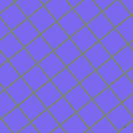 39/129 degree angle diagonal checkered chequered lines, 7 pixel line width, 76 pixel square size, Blue Smoke and Medium Slate Blue plaid checkered seamless tileable