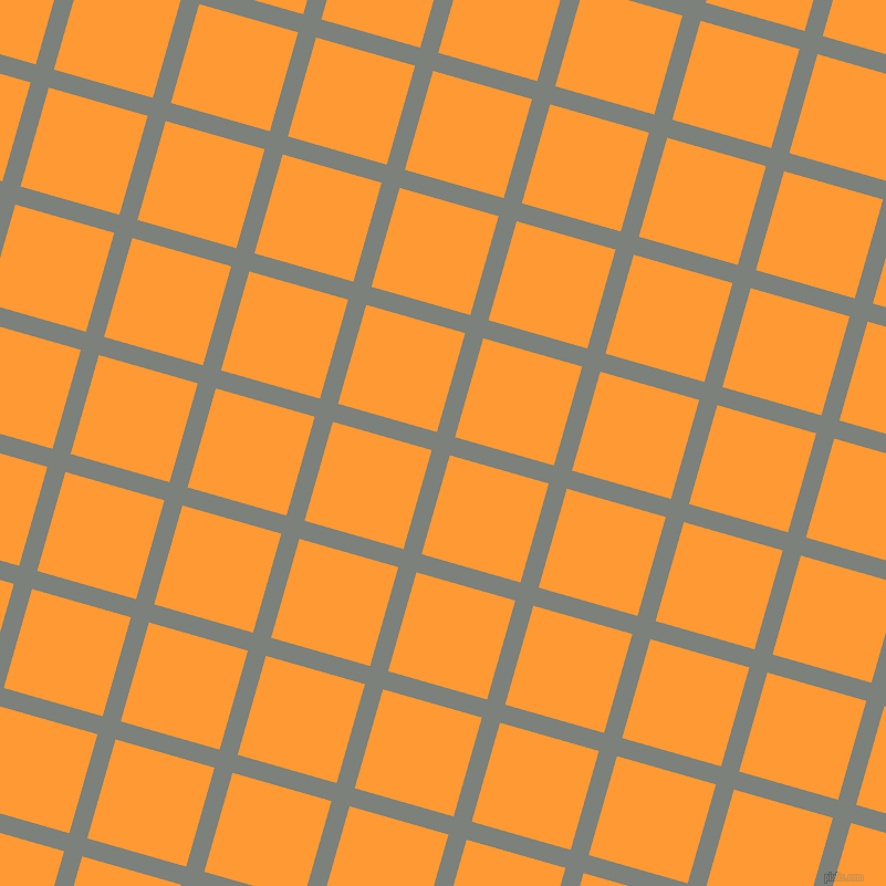 74/164 degree angle diagonal checkered chequered lines, 17 pixel lines width, 93 pixel square size, Boulder and Neon Carrot plaid checkered seamless tileable
