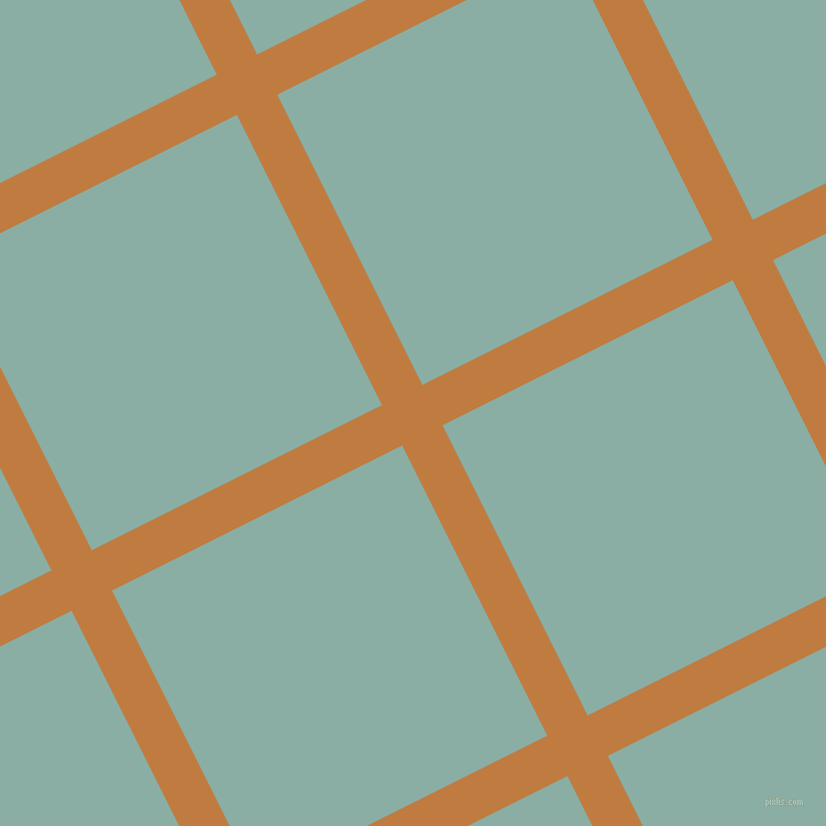 27/117 degree angle diagonal checkered chequered lines, 41 pixel line width, 295 pixel square size, Brandy Punch and Sea Nymph plaid checkered seamless tileable
