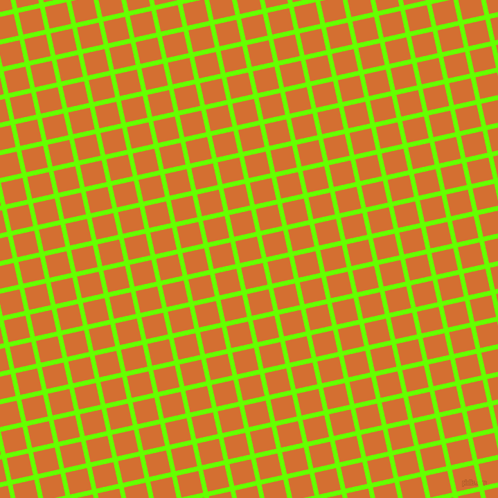 13/103 degree angle diagonal checkered chequered lines, 7 pixel lines width, 32 pixel square size, Bright Green and Tango plaid checkered seamless tileable