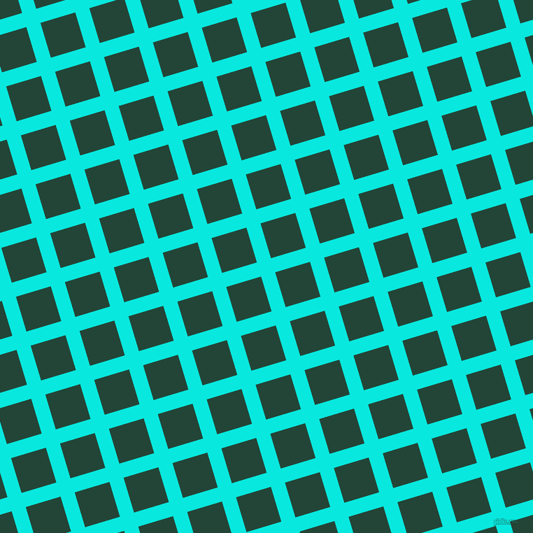 17/107 degree angle diagonal checkered chequered lines, 21 pixel lines width, 52 pixel square size, Bright Turquoise and Burnham plaid checkered seamless tileable