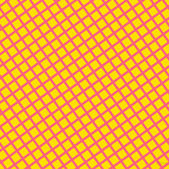 36/126 degree angle diagonal checkered chequered lines, 8 pixel line width, 26 pixel square size, Brink Pink and Golden Yellow plaid checkered seamless tileable