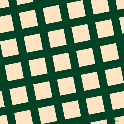 11/101 degree angle diagonal checkered chequered lines, 26 pixel line width, 53 pixel square size, British Racing Green and Bisque plaid checkered seamless tileable