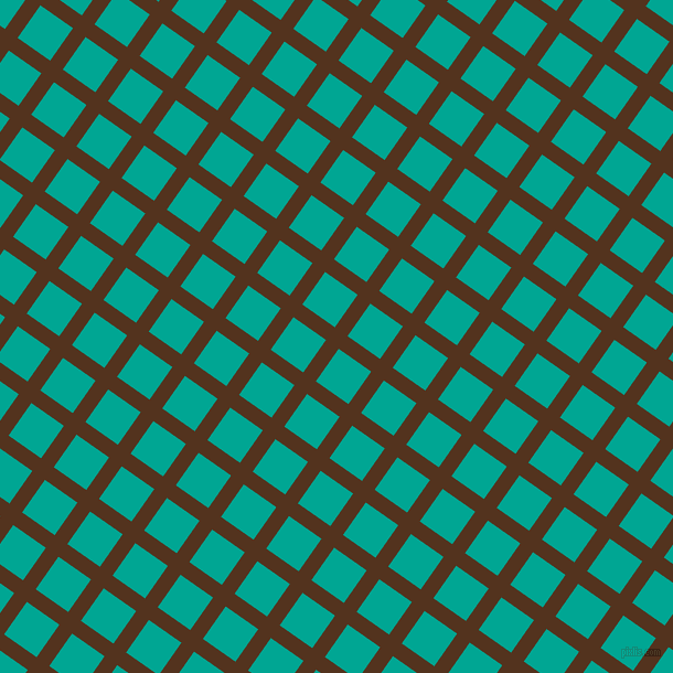 55/145 degree angle diagonal checkered chequered lines, 14 pixel line width, 36 pixel square size, Brown Bramble and Persian Green plaid checkered seamless tileable