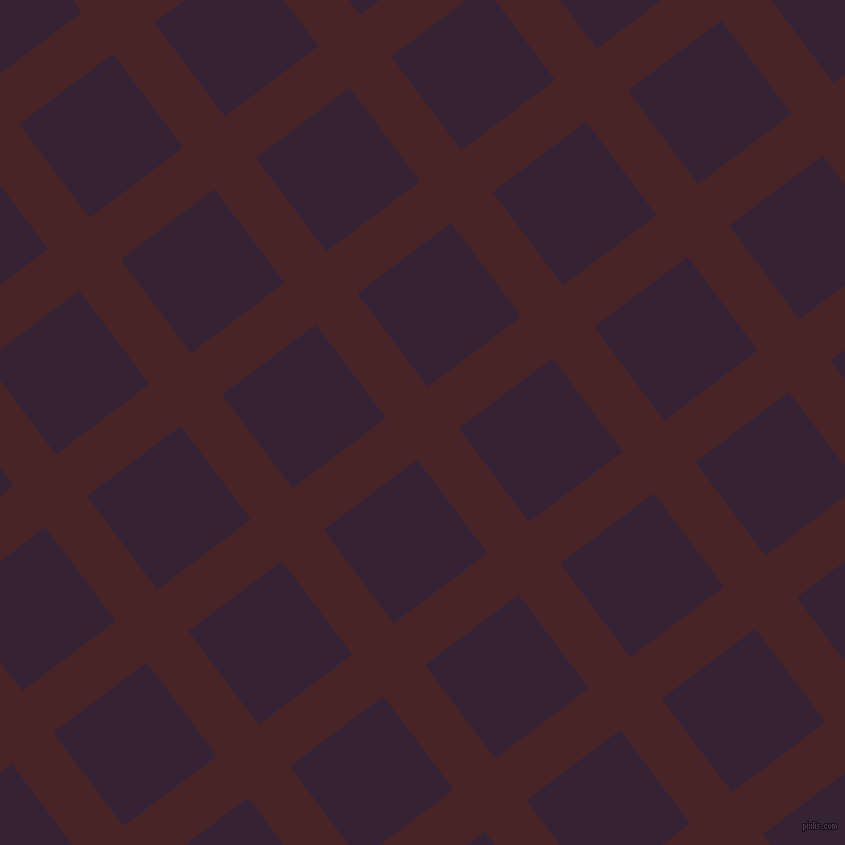 37/127 degree angle diagonal checkered chequered lines, 52 pixel line width, 117 pixel square size, Bulgarian Rose and Mardi Gras plaid checkered seamless tileable