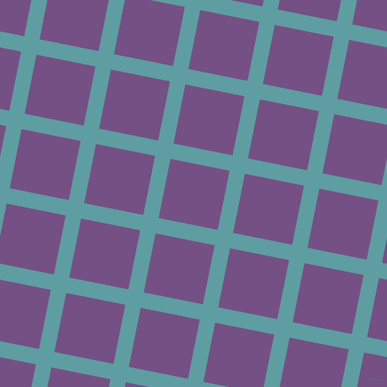79/169 degree angle diagonal checkered chequered lines, 32 pixel line width, 123 pixel square size, Cadet Blue and Affair plaid checkered seamless tileable