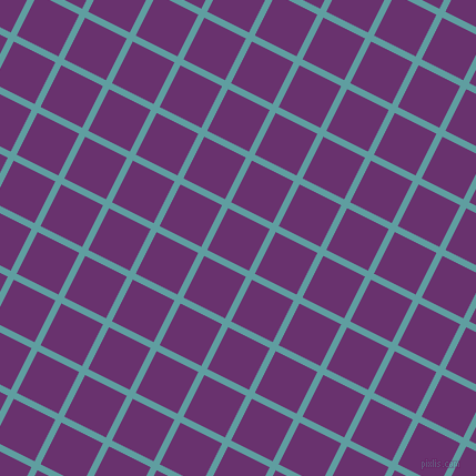 63/153 degree angle diagonal checkered chequered lines, 6 pixel line width, 42 pixel square size, Cadet Blue and Seance plaid checkered seamless tileable
