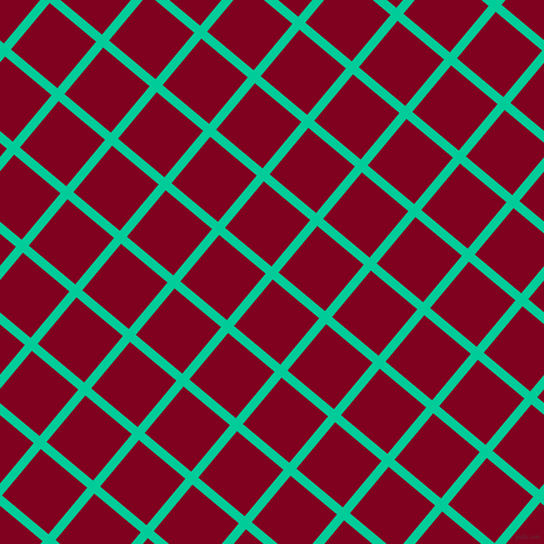50/140 degree angle diagonal checkered chequered lines, 13 pixel lines width, 86 pixel square size, Caribbean Green and Burgundy plaid checkered seamless tileable