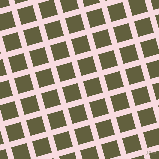16/106 degree angle diagonal checkered chequered lines, 19 pixel line width, 52 pixel square size, Carousel Pink and Verdigris plaid checkered seamless tileable