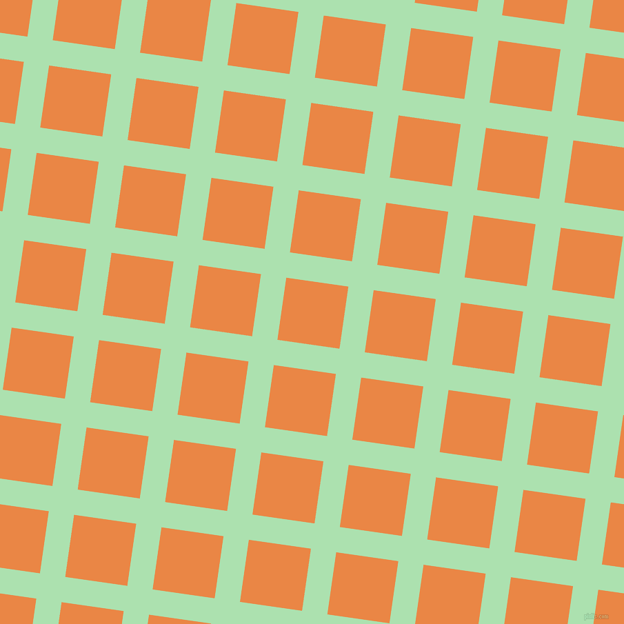 82/172 degree angle diagonal checkered chequered lines, 37 pixel line width, 91 pixel square size, Celadon and Flamenco plaid checkered seamless tileable