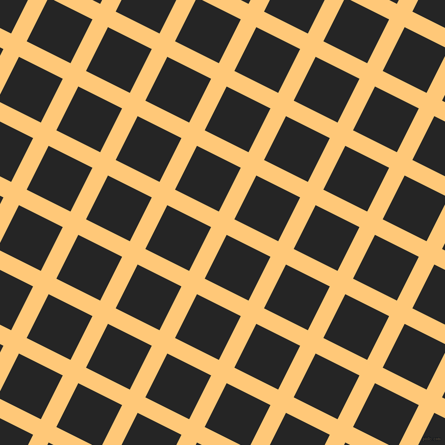 63/153 degree angle diagonal checkered chequered lines, 34 pixel line width, 96 pixel square size, Chardonnay and Nero plaid checkered seamless tileable