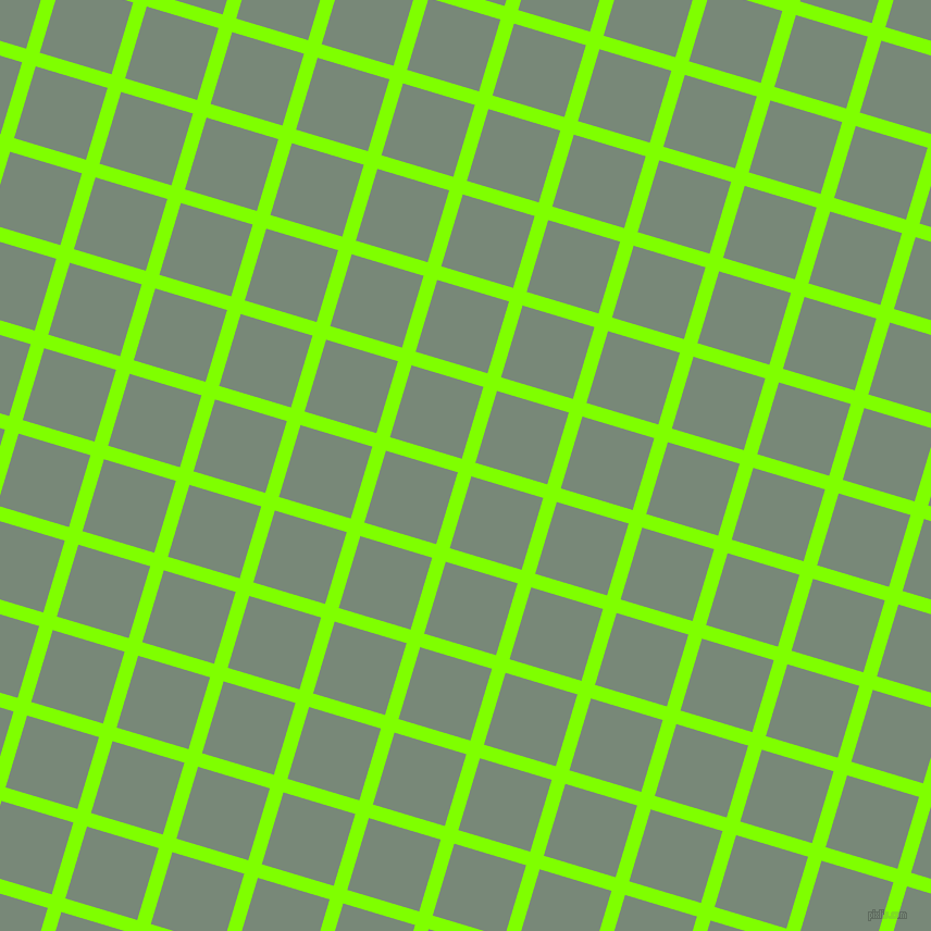 73/163 degree angle diagonal checkered chequered lines, 13 pixel line width, 69 pixel square size, Chartreuse and Davy