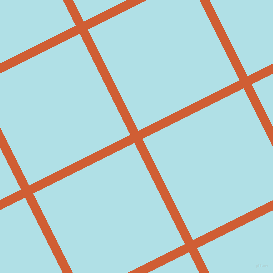 27/117 degree angle diagonal checkered chequered lines, 29 pixel line width, 362 pixel square size, Chilean Fire and Powder Blue plaid checkered seamless tileable