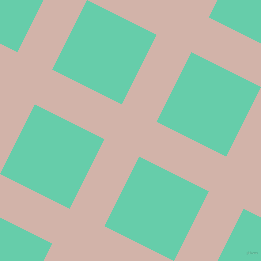 63/153 degree angle diagonal checkered chequered lines, 127 pixel line width, 254 pixel square size, Clam Shell and Medium Aquamarine plaid checkered seamless tileable