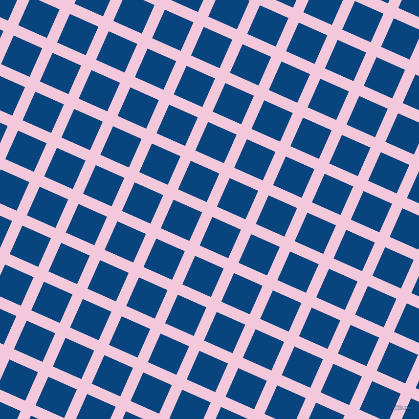 66/156 degree angle diagonal checkered chequered lines, 23 pixel lines width, 64 pixel square size, Classic Rose and Dark Cerulean plaid checkered seamless tileable