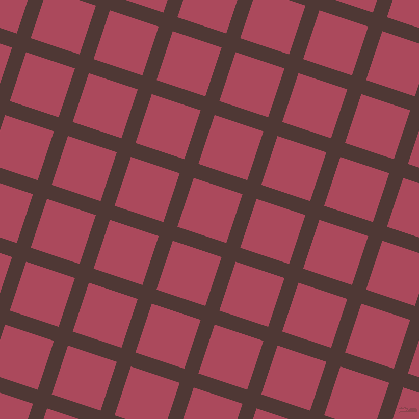 72/162 degree angle diagonal checkered chequered lines, 29 pixel lines width, 101 pixel square size, Cocoa Bean and Hippie Pink plaid checkered seamless tileable
