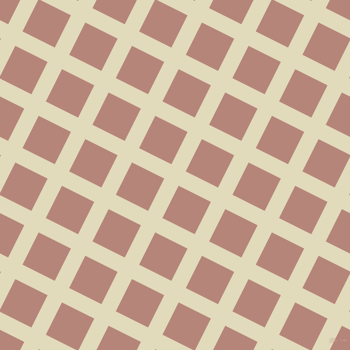 63/153 degree angle diagonal checkered chequered lines, 33 pixel line width, 74 pixel square size, Coconut Cream and Brandy Rose plaid checkered seamless tileable