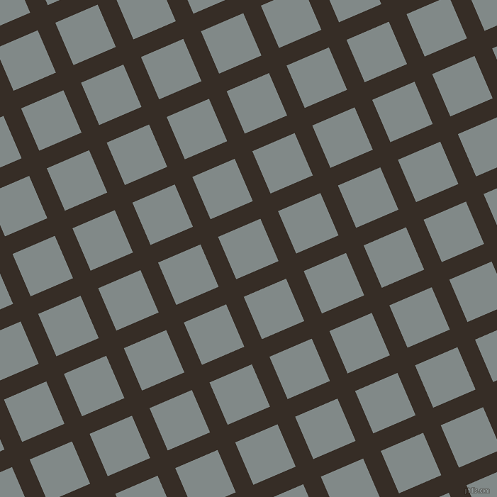 23/113 degree angle diagonal checkered chequered lines, 27 pixel line width, 65 pixel square size, Coffee Bean and Oslo Grey plaid checkered seamless tileable